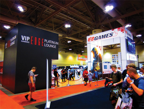 This is a view of the EB games activation at Fan Expo, with it's amazing TV cluster and arch, this is a outstanding display