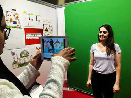 This is a an image of the green screen effect for the Save the Children display, designed and installed by the team at Pro-X Event